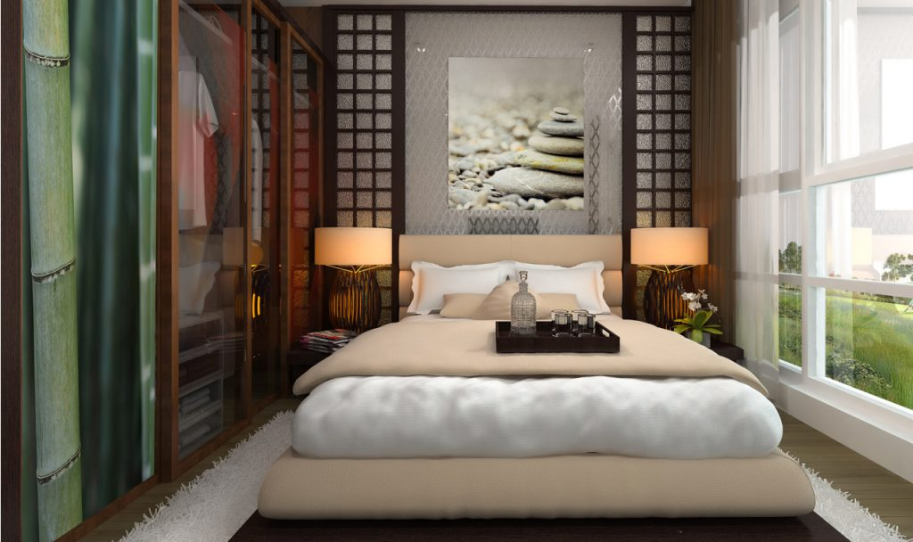Papier peint et toile chambre d'hotel