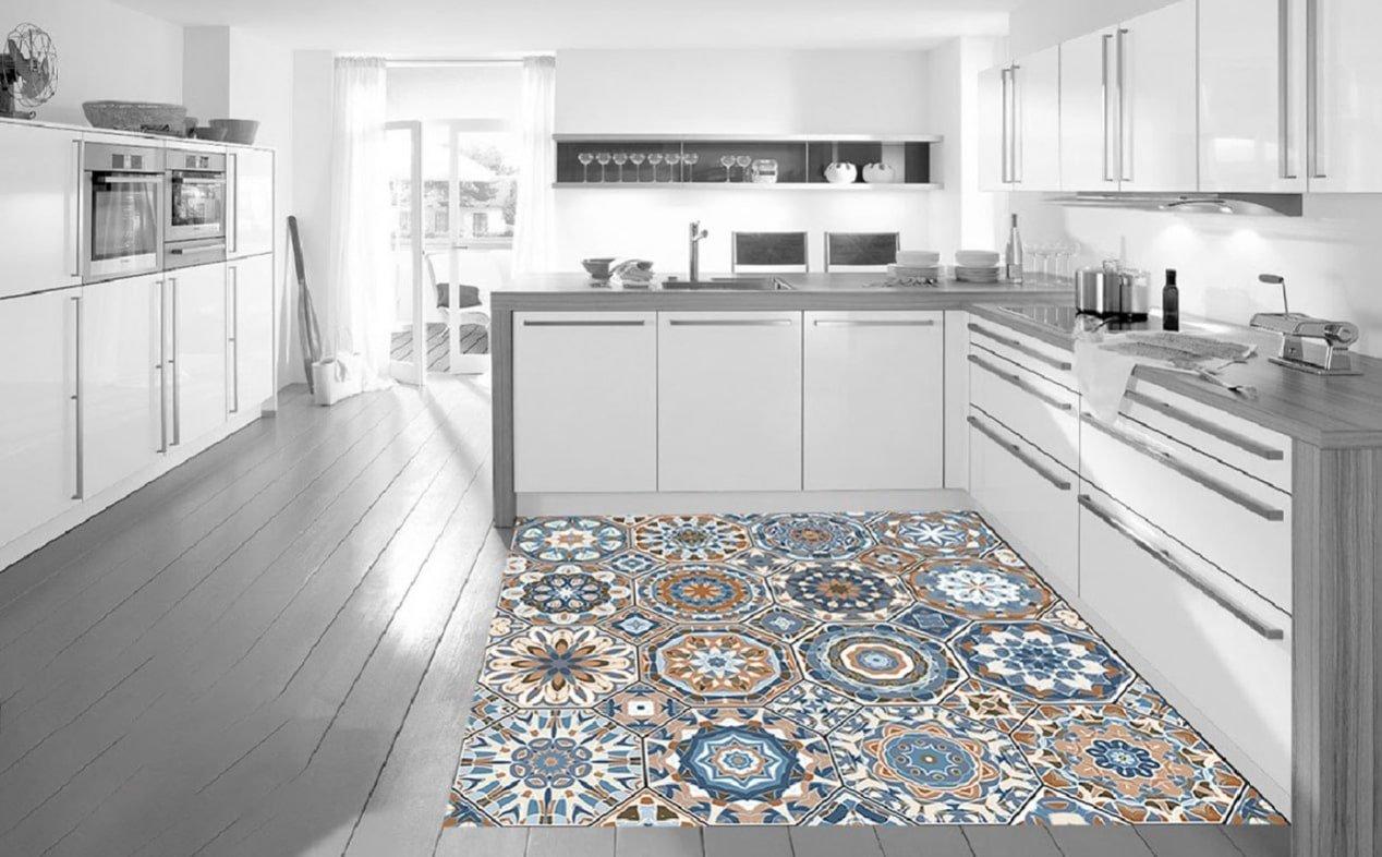 Photo d'un lino décoratif dans une cuisine