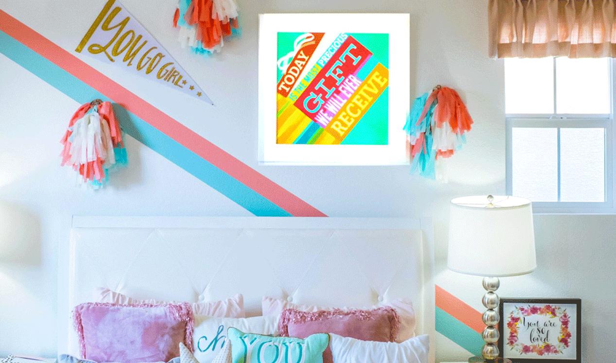 Photo d'un cadre textile led decoratif